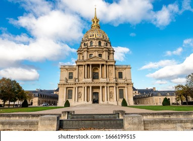 Paris, France, November 2017: A view of Golden Dome shaped church of the Hotel des Invalides from Avenue de Tourville