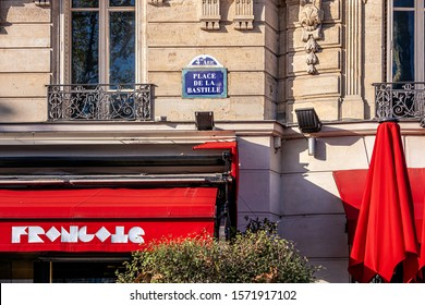 PARIS, FRANCE - NOVEMBER 21, 2019. Bastille district. on the wall of a building, a street sign indicates that we are on the place of the Bastille, in the 4th Arrondissement of Paris.