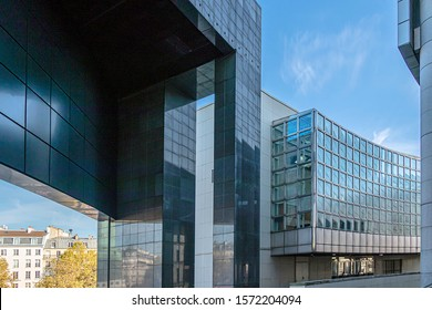 PARIS, FRANCE - NOVEMBER 21, 2019. Bastille district. Opéra Bastille is a modern opera house located on Place de la Bastille in Paris. Designed by Carlos Ott and inaugurated in 1989.