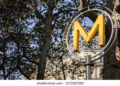 PARIS, FRANCE - NOVEMBER 21, 2019. Bastille district. Bastille metro entrance, and detailed map of the district.