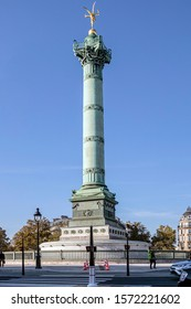 PARIS, FRANCE - NOVEMBER 21, 2019. Bastille district. The column of July is a column raised on the Place de la Bastille in Paris, between 1835 and 1840 in commemoration of the Three Glorious.