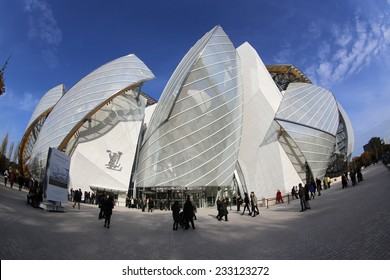 PARIS, FRANCE � NOVEMBER 22, 2014: The Building of the Louis Vuitton Foundation in Paris. This Building was opened at October 2014 and is the new Attraction in Paris