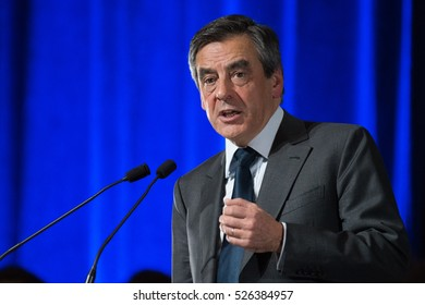 PARIS, FRANCE - NOVEMBER 25, 2016 : Francois Fillon in meeting for the primaries of the political party Les Republicains at Porte de Versailles in Paris for the French presidential election of 2017.