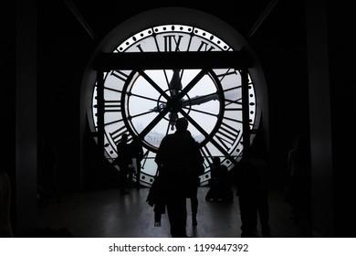 Paris, FRANCE- November 26, 2014 : Orsay Museum, Musee D Orsay Clock, Giant Clock