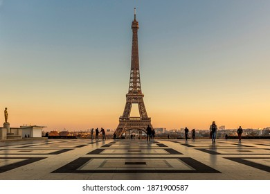 Paris, France - November 26, 2020: Beautiful view of the Eiffel tower seen from Trocadero square in Paris, France, during lockdown because of covid19