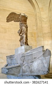 PARIS, FRANCE - NOVEMBER 27, 2009:  The Winged Victory of Samothrace, also called the Nike of Samothrace in the Louvre museum