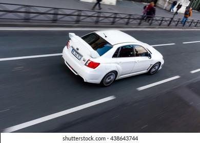 Paris, France - November 27, 2013: Photo of Subaru Impreza WRS STI 2013 Version. The 5rd generation of the high performance STI debuted in October 2013.