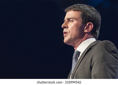 PARIS, FRANCE - NOVEMBER 27, 2014 : Prime Minister Manuel Valls during the 97th congress of France mayors in exhibition center of porte de versailles