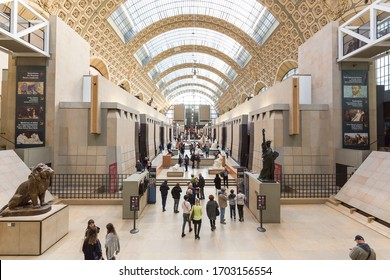 PARIS, FRANCE - NOVEMBER 27, 2018: Musee d'Orsay in Paris is located in the beautiful former Gare d Orsay train station. Known for largest collection of impressionist paintings in the world.