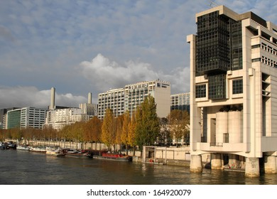 PARIS, FRANCE, NOVEMBER 27 - Seat of the Minister of Finance at Bercy in Paris and Seine river, on November 27, 2013 in Paris, France.