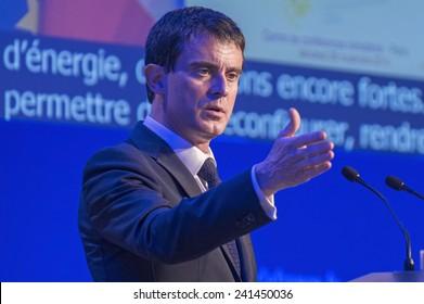 PARIS, FRANCE - NOVEMBER 28, 2014 : Prime Minister Manuel Valls during the environmental conference organized by Segolene Royal under COP21