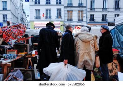 PARIS, FRANCE - NOVEMBER 28, 2014 : Flea Market in Marais.