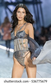 PARIS, FRANCE - NOVEMBER 30: Bella Hadid walks the runway during the 2016 Victoria's Secret Fashion Show on November 30, 2016 in Paris, France.