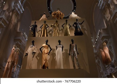 Paris, France, November2017, Dresses designed by Christian Dior presented in an exhibition in the Capital of France until January next year.