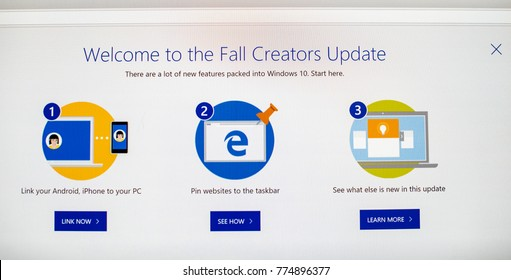 PARIS, FRANCE - OCR 31, 2017: Welcome screen with the buttons of the Fall Creators Update of the Microsoft Windows 10 OS