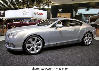 PARIS, FRANCE - OCT 10: The new Bentley Continental GT on display at the Paris Motor Show at Porte de Versailles on October 10, 2010 in Paris, France.