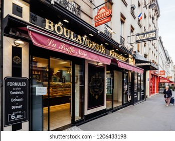 PARIS, FRANCE - OCT 13, 2018: La Truffe Noire pattiserie boulangerie bakery fromthe banette chain  on the Rue Vaugirard - view from the Parisian street
