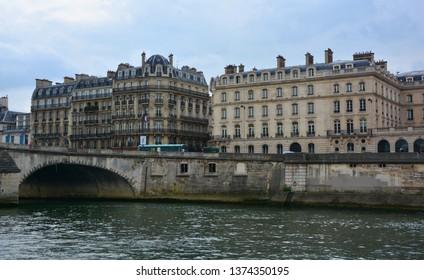 PARIS FRANCE OCT 16 2014: Apartments on Ile Saint-Louis is one of two natural islands in the Seine river, in Paris, France the other natural island is Ile de la Cite the Ile aux Cygnes is artificial