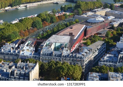 PARIS FRANCE OCT 16: Bird eye view from the Eiffel tower Musee du quai Branly Jacques Chirac is a museum featuring the indigenous art and cultures of Africa, Asia, Oceania, and the Americas