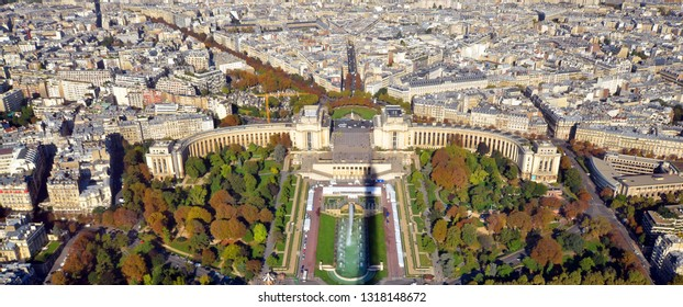 PARIS FRANCE OCT 16: Bird eye view from the Eiffel tower of the Jardins du Trocadero (Gardens of the Trocadero) bounded by the wings of the Palais de Chaillot and by the Seine and the Pont d'Iena