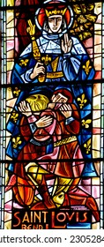 PARIS FRANCE OCT 17: Stained glass window in Basilica of the Sacred Heart of Paris is a Roman Catholic church and minor basilica, dedicated to the Sacred Heart of Jesus, in Paris France oct, 17 2014