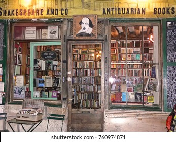 PARIS, FRANCE - OCT 18, 2009 : Shakespeare and Company Antiquarian Books.  Antiquarian bookstore of Sylvia Beach Whitman. Opened in 19 November 1919.