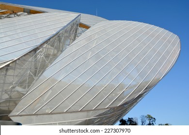 PARIS FRANCE OCT 19: The building of the Louis Vuitton Foundation started in 2006, is an art museum and cultural center the $143 million museum has recently been completed in Paris France oct, 19 2014