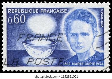 Paris, France - Oct. 23, 1967: Marie Curie (1867-1934), Polish physicist and chemist who discovered radium and radioactivity. Nobel Prize winner. Stamp issued by French Post in 1967.