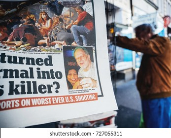 PARIS, FRANCE - OCT 3, 2017: Photo of killer Stephen Paddock in newspaper with socking title and photo press kiosk about the 2017 Las Vegas Strip shooting in United States 60 fatalities 527 injuries