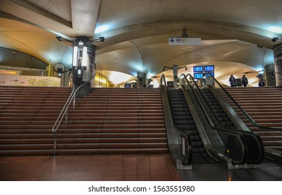 Paris, France - Oct 3, 2018. Underground metro station in Paris, France. It is the second-busiest metro system in Europe, after the Moscow.