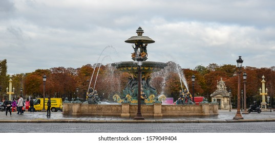 Paris, France - Oct 3, 2018. Art fountain at La Concorde Square of Paris, France. Place de la Concorde is the largest square in the French capital.