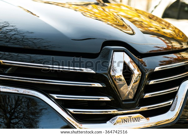 PARIS, FRANCE - OCT 30, 2015: Renault Initiale logo on a luxury sedan RENAULT ESPACE INITIALE PARIS. The Initiale logo is the flagship model and the most luxury one from Renault