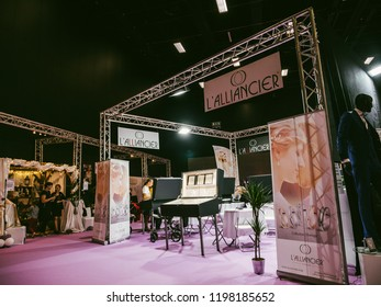 PARIS, FRANCE - OCT 6, 2018: Wedding Exhibition Paris 2018 with people - customers and exhibitions preparing for the marriage event wedding ring jewelry booth
