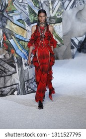 PARIS, FRANCE - OCTOBER 01: A model walks the runway during the Alexander McQueen Paris show as part of the Paris Fashion Week Womenswear Spring/Summer 2019 on October 1, 2018 in Paris, France.
