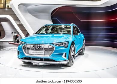 Paris, France, October 02, 2018: electric metallic blue Audi e-tron 55 quattro SUV at Mondial Paris Motor Show, produced by German automobile manufacturer Audi AG