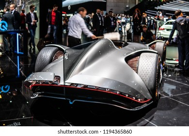 Paris, France, October 02, 2018: Show car: Mercedes-Benz Concept EQ Silver Arrow Electric Intelligence at Mondial Paris Motor Show, produced by Mercedes Benz