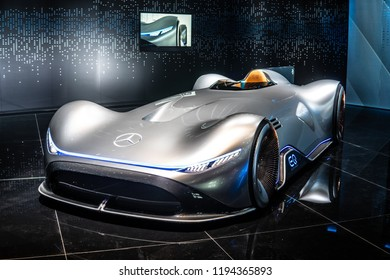 Paris, France, October 02, 2018: Show car: Mercedes-Benz Concept EQ Silver Arrow Electric Intelligence at Mondial Paris Motor Show, produced by Mercedes Benz