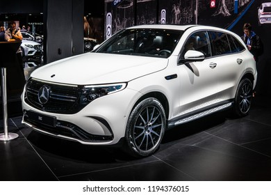 Paris, France, October 02, 2018: production car: all new electric Mercedes-Benz EQC 300kW SUV 2019 model year EQ brand at Mondial Paris Motor Show, produced by Mercedes Benz