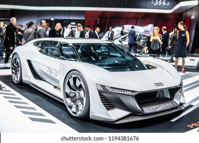 Paris, France, October 02, 2018: New all-electric Audi PB18 e-tron concept car – highly automated for the future at Mondial Paris Motor Show, produced by Audi AG