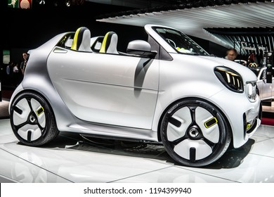 Paris, France, October 02, 2018: Show car: Smart Forease vision EQ fortwo Mercedes-Benz at Mondial Paris Motor Show, produced by Mercedes Benz