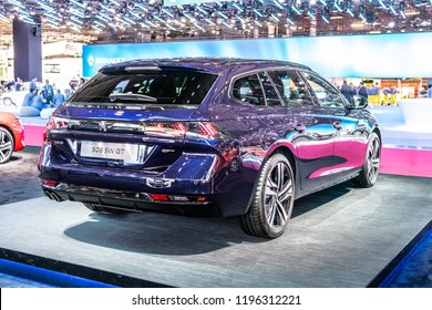Paris, France, October 02, 2018: metallic purple all new Peugeot 508 SW GT Station Wagon Combi at Mondial Paris Motor Show, car produced by Peugeot