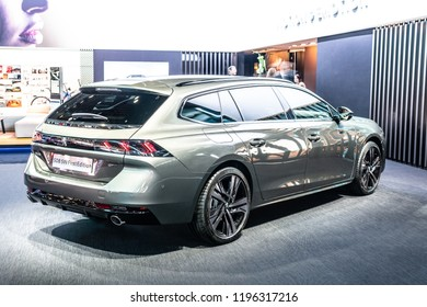 Paris, France, October 02, 2018: metallic all new Peugeot 508 SW GT First Edition Station Wagon Combi at Mondial Paris Motor Show, car produced by Peugeot