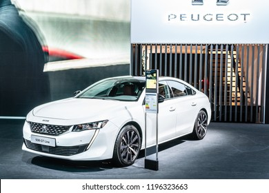 Paris, France, October 02, 2018: metallic white new Peugeot 508 GT Line at Mondial Paris Motor Show- car produced by Peugeot, car produced by Peugeot