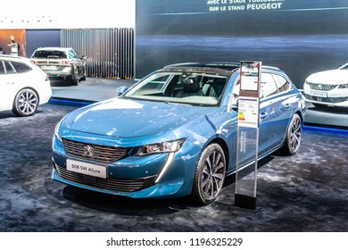 Paris, France, October 02, 2018: metallic white all new Peugeot 508 SW Allure Station Wagon Combi at Mondial Paris Motor Show, car produced by Peugeot