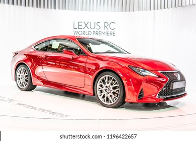 Paris, France, October 02, 2018: metallic red LEXUS RC 300h hybrid ENGINEERED FOR PURE ENJOYMENT at Mondial Paris Motor Show, produced by Japanese car maker Lexus