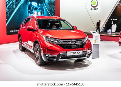 Paris, France, October 02, 2018: metallic red all new Honda CR-V at Mondial Paris Motor Show, compact crossover manufactured by Honda