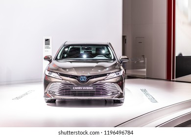 Paris, France, October 02, 2018: metallic all new Toyota Camry Hybrid at Mondial Paris Motor Show, produced by Japanese automaker, Toyota booth