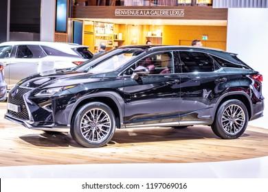 Paris, France, October 02, 2018: metallic graphite LEXUS RX 450h hybrid SHARPENED SOPHISTICATION at Mondial Paris Motor Show, produced by Japanese car maker Lexus