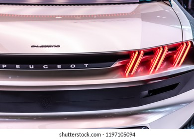 Paris, France, October 02, 2018: all-new Peugeot e-Legend Concept, electric sports car, advanced autonomous features styled on 504 coupe at Mondial Paris Motor Show - car produced by Peugeot