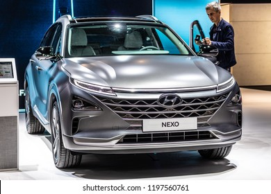 Paris, France, October 02, 2018: Hyundai Nexo is Hydrogen Fuel Cell powered crossover SUV at Mondial Paris Motor Show, The Nexo has driving range of 800km, car produced by Hyundai
